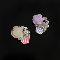 30PCS/LOT Rose Cake Resin Flower Cabochons Alloy 9x10mm 3D Nail Art Cellphone Cover Case Beauty DIY Design Decorations Supplies
