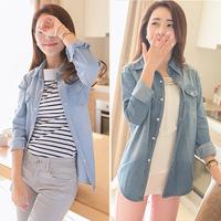 Women Jeans Blouse Casual Shirt Woman's Denim Tops Long Sleeve