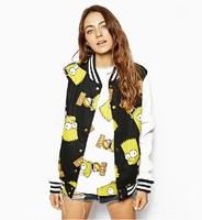 Brand 2014 Fashion Womens/Girls Cool Simpson Print Color Block PU leather Sleeve Patchwork Baseball Jacket Jackets Streetwear