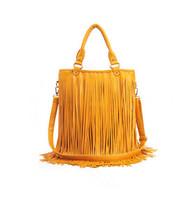 2014 New Punk Tassel Fringe Womens Fashion PU Leather Handbag Shoulder Bag Messenger Bag Brown Black White Gold Women's Tote Bag