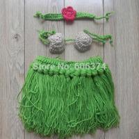 New Hot Sale Girl Baby Newborn Beach Hula Grass Skirt Set Crochet Knit Costume Outfit Photography Photo Props