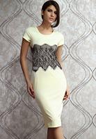 Free shipping women dress Leanne Lace Waistband Cap Sleeve Midi Dress