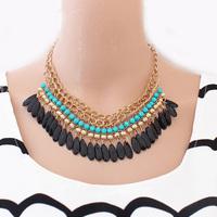 Bohemian ethnic fringe acrylic fashion water drops girls necklaces wholesale