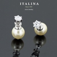 Italina Rigant Jewelry Gold Plated Double Sides Imitation Pearl Zircon Stud Earrings for Girls Gift