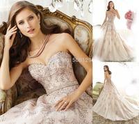 New Listing Bridal Gowns 2015 Sweetheart Lace Applique Long Formal Lace Up Tulle A Line Wedding Dresses 2014 vestido de noiva