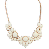 Best Price New Hot Fashion Resin Beige Water Drop Beads Collar Choker Statement Necklace Jewelry for Women Free Shipping#110304