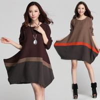 Plus Size Dress Women 2015 autumn&winter New double cotton material casual dress Korean loose long sleeve o-neck dresses