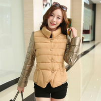 Jackets Winter Coat Short Fashion Slim 2014 Mixed Golden Color Sleeve Warm Overcoat Outerwear Girl Lady Casual Clothing NZH036