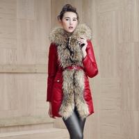 2014 bl for ess edly 's top super large raccoon fur slim medium-long down coat female