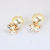 2014  Hot Sell imitation Pearl Stud Earrings beads double size Pearl stud earring KK-SC684