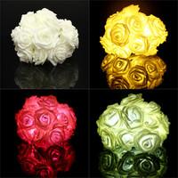 3 Colors Hot Sale 20 LED Nylon Rose Flower String Fairy Lights Lanterns Wedding Christmas Party Party Decoration Decor Floral