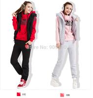 About 1.26kg/set,2014 Winter Women's Sport Suit  Leisure Sports Hoodie Set Three-piece Female Sports Sweatshirt Suit Sportswear