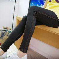 2014 autumn and spring plus size ultra elastic legging slim faux denim legging pencil pants office ladies legging