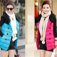 New 2014 fashion Cotton vest female autumn winter plus size hooded down vest Women casual Vest 4 color M,L,XL,XXL Free Shipping