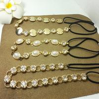 12pcs/lot women's Luxury rhinestone headband chain Elastic headband classic hair accessories