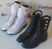 Free shipping   female fashion high-top shoes snow boots motorcycle  medium-leg winter boots