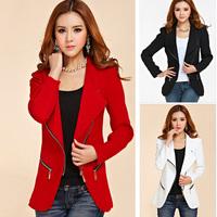 2014 New Design women's long-sleeve short jacket zipper jackets female coat  Blazer woman's clothing DF-208