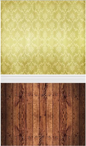 5x10FT Custom Wedding Photography Studio Backdrops Background Olive Satin Khaki Damask Wall Dark Wooden Floor Vinyl 8x12 8x15(China (Mainland))