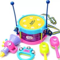 5pcs Multicolor Plastic Educational Toys Drum / Handbell / Trumpet / Sand Hammer /Drum Sticks Musical Playing Type Sets ILWJ5003