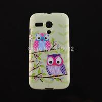 For Motorola Moto G DVX XT1032 XT1031,Lovely Cartoon Owl Flower Tower Soft TPU Protective Cover Back Case