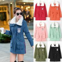 Parkas 2014 Winter Long Women Thickening Coat Fur Cotton Lapel Coats Slim Promotional discounts Wholesale Down Parkas B-2023
