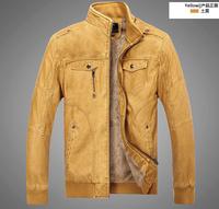 New Arrival 2014 Fashion Men's Leather Jacket Winter/Autumn Motorcycle Vintage PU Leather Jackets Military Warm Coat Jacket