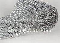 Free shipping bling wedding party decoration rhinestone mesh , 24rowsx10yards silver diamond ribbon