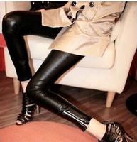 2014 New Fashion The side zipper leather pants women leggings Lederhosen Tenths Pants Free Shipping