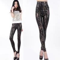 2014 New Fashion Black Small snakeskin women leggings Snake Print leather pants Lederhosen Tenths Pants Free Shipping