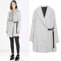 Leisure warm fashion Women Lapel Side Buckle Wool Blend Coat Outerwear Jacket Overcoat