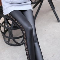 Free Shipping Fashion Leggins! Triangular lace PU leather Leggings Skinny Stretch Pants for spring summer and fall