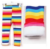 BP086 2014 New Free Shipping Rainbow Warm Baby Girls winter Leggings Children Pants Girls Trousers Kids Pencil Pants Retail