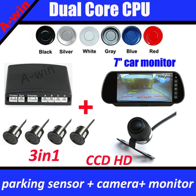 "car reverse rear view backup camera CCD HD + 7"" Car mirror monitor + Dual Core Car Video Parking Sensor(China (Mainland))"