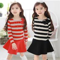 2014 new Spring autumn children's clothing wholesale kids Cotton stripe dress girls pearls  dress