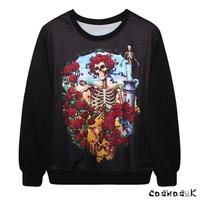 New Arrive Fashion Black  Autumn Womens Cartoon Skull Floral Print Sweatshirts Rose Pullover MDWY2