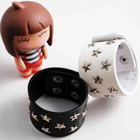 Hot Selling Fashion wild Handmade rivet  punk rock  five-pointed star leather Charm Bracelet For Women men jewelry  MD1172