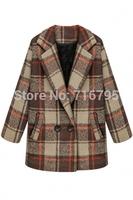 Women's Coats 2014 Autumn & Winter Outwear Classic Women Long Sleeves Double Breasted Plaid Wool Pea Coat