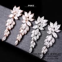 ZSE003  Wholesale 2014 New Designer AAA Cubic Zirconia Long Flower Stud Earrings For Women Fashion Jewelry  bijoux POXE