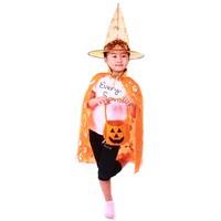 little Halloween Costume adults and children in fine gold collar pumpkin double yarn cloak + pumpkin HAT + pumpkin pail