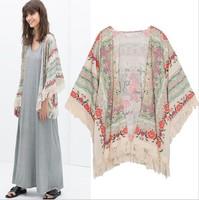 2014 Free Shipping Eurppean Style Ladies Blouse Trendy Elegant Positioning Printed Shawl Kimono Casual Coat Jacket 88461