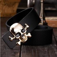 Black/white/brown Men's/Women 2014 fashion Belts Golden skulls belt buckle designs leisure leather belts