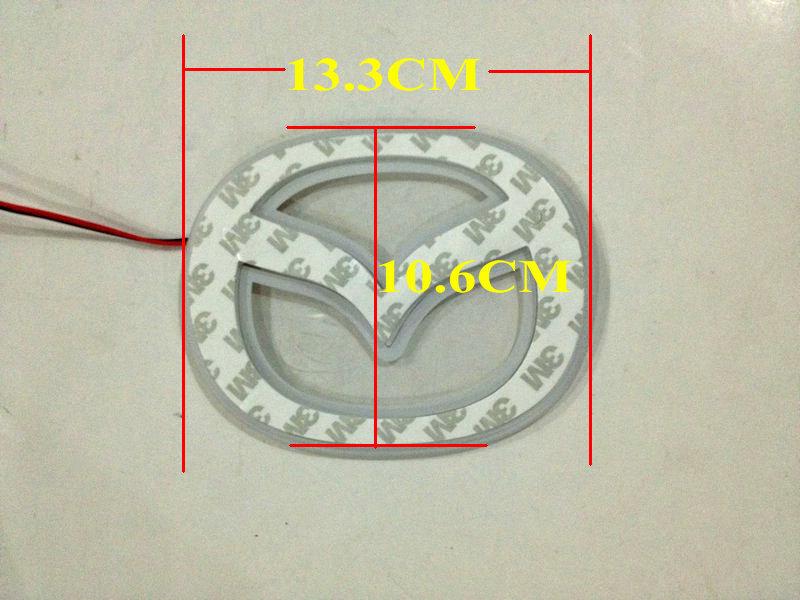 Free Shipping!!! Size 13.3 x 10.6 cm car logo lamp auto LED emblem light car badge light for Mazda Blue Red White Optional(China (Mainland))