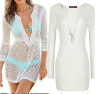 New Brand Woman Sexy Beach Dress Swimwear Bikini Cover Up Lace Crochet V-Neck Women Shirt Hot Bikinis