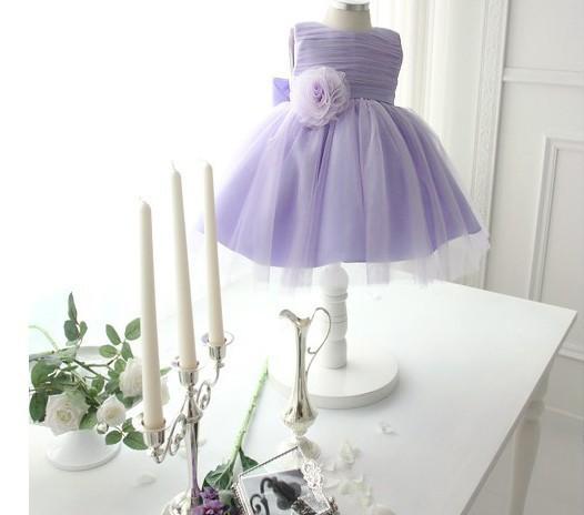 New sleeveless Waist Chiffon Dress Girls Toddler lavender Tutu ball gown Princess Party Dress Kids Formal Bow Dress(China (Mainland))
