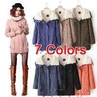 S-4XL New Fashion 2014 Winter Coat Women 7 Colors Thickened Cashmere Zipper Plus Size Fur Coats Flocking Outerwear Parka PS0627