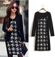 Free shipping 2014 Korean Women dresses New commuter Slim long-sleeved O-necked warm winter models bottoming Dress