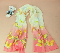 New design 2014 winter sweet butterfly print chiffon scarf Women long shawl 160*50cm