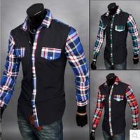 Hot 2014 Autumn Flax Long Sleeve Slim Fit Plaid Shirt High Quatily Hit Color Casual Men'S Shirts Men'S Dress Shirt RY19