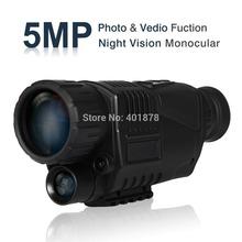 WG-37 5 Mega Pixels 5x40 Digital Night Vision Monocular 200m Photos & Video DVR 1.5 inch LCD screen IP54 waterproof free ship(China (Mainland))