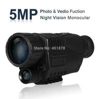 WG-37 5 Mega Pixels 5x40 Digital Night Vision Monocular 200m Photos & Video DVR 1.5 inch LCD screen IP54 waterproof free ship